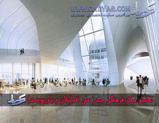 تحلیل مرکز فرهنگی حیدر علی اف(پلان و پاورپوینت)