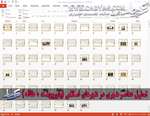 تحلیل عناصر شهری در شهرهای اسلامی (پاورپوینت + ورد)