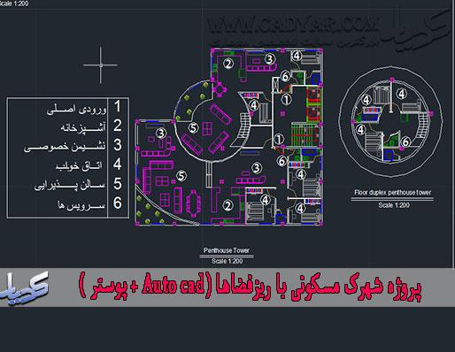 پروژه شهرک مسکونی با ریزفضاها (Auto cad + پوستر )